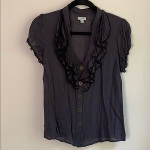 Anthropologie Odille Ruffle Button Up Top